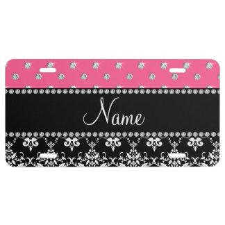 Personalized name black damask pink diamonds license plate