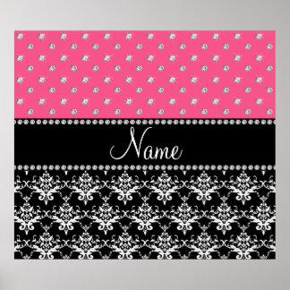 Personalized name black damask pink diamonds poster