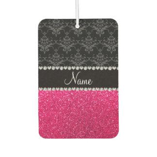 Personalized name black damask pink glitter air freshener