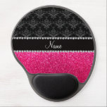 "Personalized name black damask pink glitter gel mouse pad<br><div class=""desc"">Black damask floral flowers pattern background and pink glitter (not real glitter) black diamonds stripe (faux diamonds, not real) with hearts and dots personalized with your name gifts or monogram gifts or your initials Ideal for bride and groom weddings, wedding showers, engagement showers, engagement party, anniversary, save the date, bachelorette...</div>"
