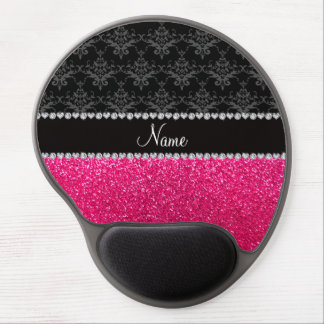 Personalized name black damask pink glitter gel mouse pad