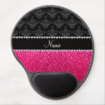 Personalized name black damask pink glitter gel mouse mats