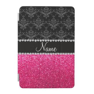 Personalized name black damask pink glitter iPad mini cover