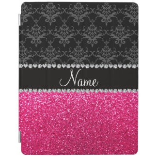 Personalized name black damask pink glitter iPad cover