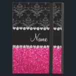 "Personalized name black damask pink glitter iPad air case<br><div class=""desc"">Black damask floral flowers pattern background and pink glitter (not real glitter) black diamonds stripe (faux diamonds, not real) with hearts and dots personalized with your name gifts or monogram gifts or your initials Ideal for bride and groom weddings, wedding showers, engagement showers, engagement party, anniversary, save the date, bachelorette...</div>"