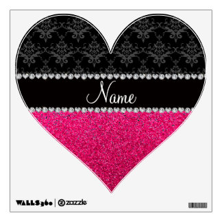 Personalized name black damask pink glitter room graphics
