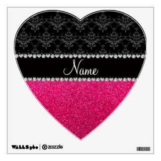 Personalized name black damask pink glitter wall stickers