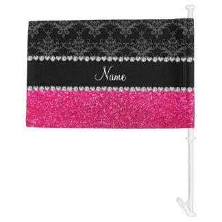 Personalized name black damask pink glitter car flag