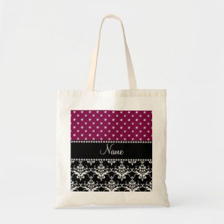 Personalized name black damask plum purple diamond tote bags
