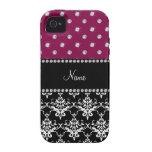 Personalized name black damask plum purple diamond Case-Mate iPhone 4 covers