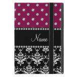Personalized name black damask plum purple diamond iPad mini covers