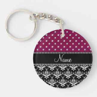 Personalized name black damask plum purple diamond acrylic keychains