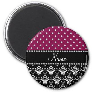 Personalized name black damask plum purple diamond fridge magnet