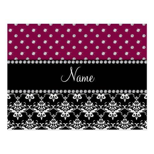 Personalized name black damask plum purple diamond postcards