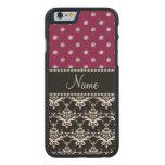 Personalized name black damask plum purple diamond carved® maple iPhone 6 case