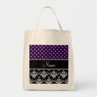 Personalized name black damask purple diamonds tote bag