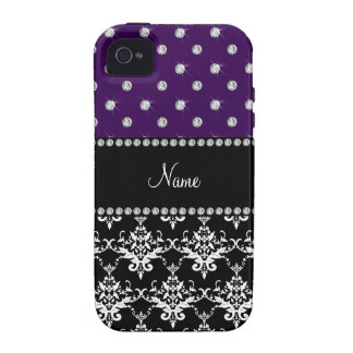 Personalized name black damask purple diamonds iPhone 4/4S cases
