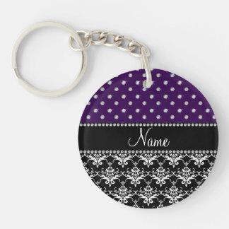 Personalized name black damask purple diamonds acrylic keychains