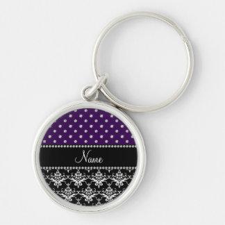 Personalized name black damask purple diamonds key chain