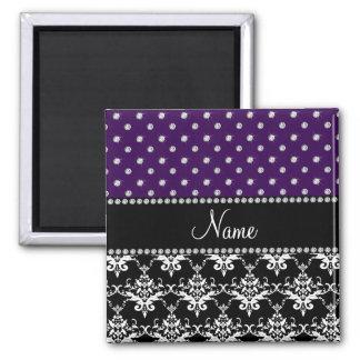 Personalized name black damask purple diamonds magnets
