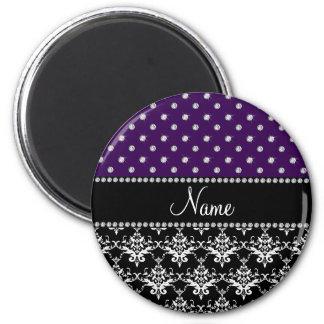 Personalized name black damask purple diamonds fridge magnet