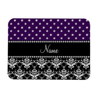Personalized name black damask purple diamonds flexible magnets