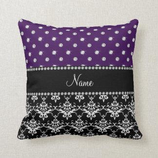 Personalized name black damask purple diamonds throw pillow