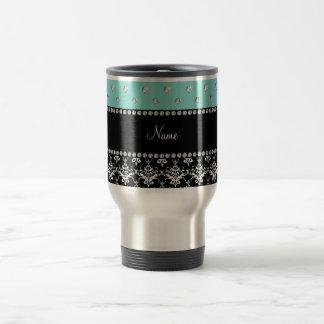Personalized name black damask seafoam green bling 15 oz stainless steel travel mug