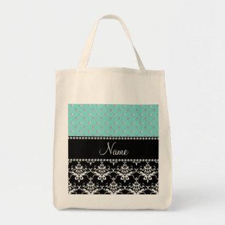 Personalized name black damask seafoam green bling tote bag