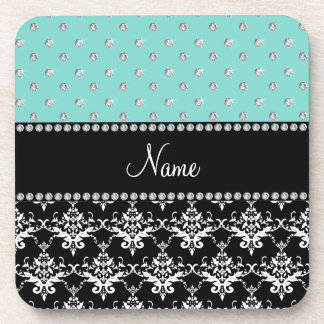 Personalized name black damask seafoam green bling drink coaster