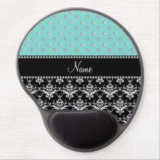 Personalized name black damask seafoam green bling gel mouse pad