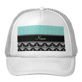 Personalized name black damask seafoam green bling trucker hat