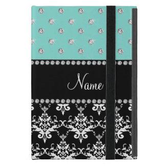 Personalized name black damask seafoam green bling iPad mini covers