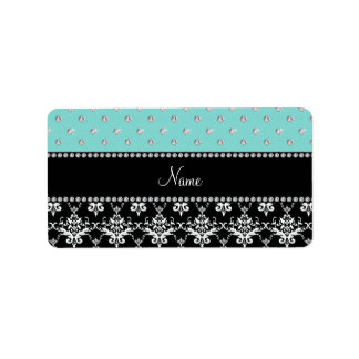 Personalized name black damask seafoam green bling personalized address labels
