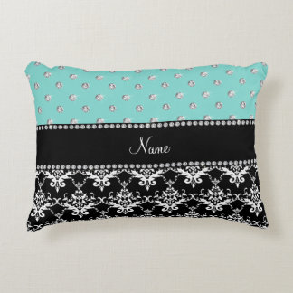 Personalized name black damask seafoam green bling accent pillow