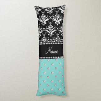 Personalized name black damask seafoam green bling body pillow