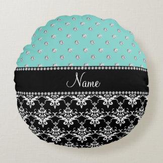 Personalized name black damask seafoam green bling round pillow