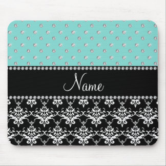 Personalized name black damask seafoam green bling mouse pad