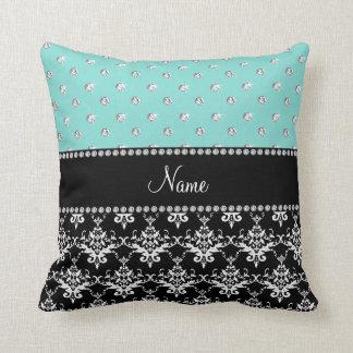 Personalized name black damask seafoam green bling throw pillows