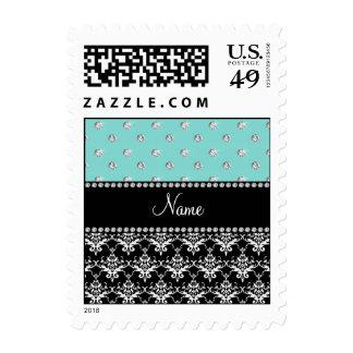 Personalized name black damask seafoam green bling postage stamp