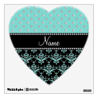 Personalized name black damask seafoam green bling wall graphics