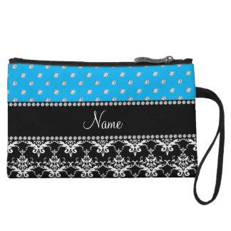 Personalized name black damask sky blue diamonds wristlet purses