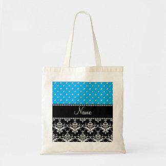 Personalized name black damask sky blue diamonds canvas bags