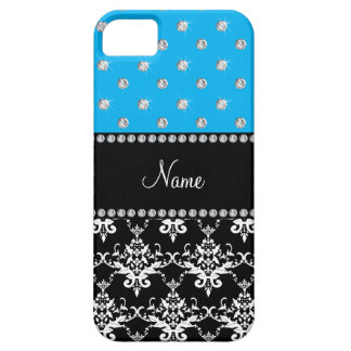 Personalized name black damask sky blue diamonds iPhone 5 covers