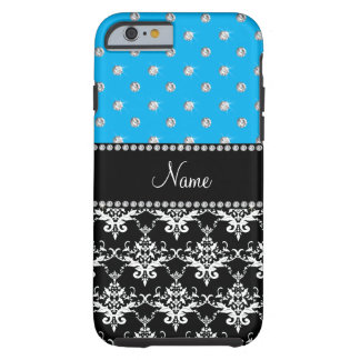 Personalized name black damask sky blue diamonds tough iPhone 6 case