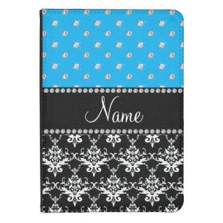 Personalized name black damask sky blue diamonds kindle 4 cover
