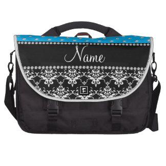 Personalized name black damask sky blue diamonds laptop bags