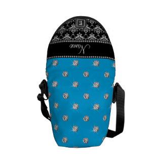Personalized name black damask sky blue diamonds messenger bag