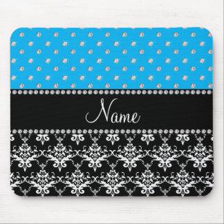 Personalized name black damask sky blue diamonds mouse pad