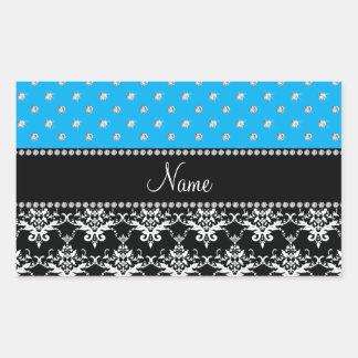 Personalized name black damask sky blue diamonds rectangle sticker